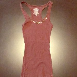 Brown Abercrombie & Fitch Ribbed Racerback Tank